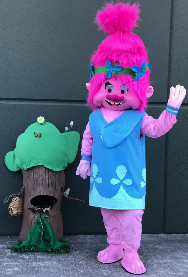 Have our troll princess at your houston birthday party mascot fun extravaganza with theme related games and activities with our costumed character mascots.