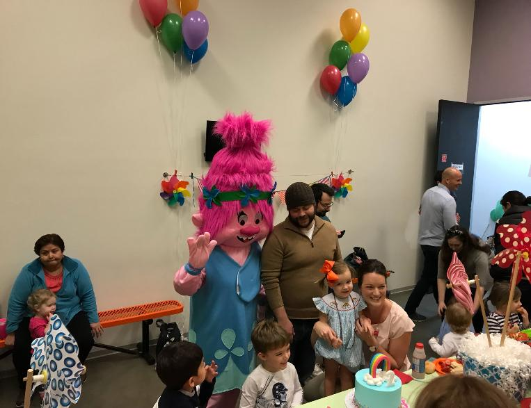 Have our troll princess mascot for rental in Houston to play theme related games and activities with your little princess and their friends birthday party mascot fun.